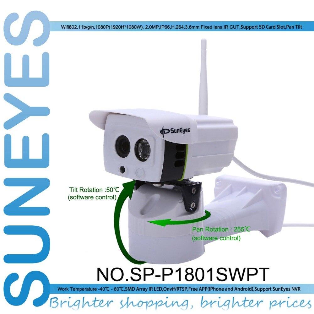 imágenes para SunEyes SP-P1801SWPT Remoto Pan/Rotación de Inclinación de la Cámara IP 1080 P Full HD Wifi Impermeable Al Aire Libre con Micro SD ranura