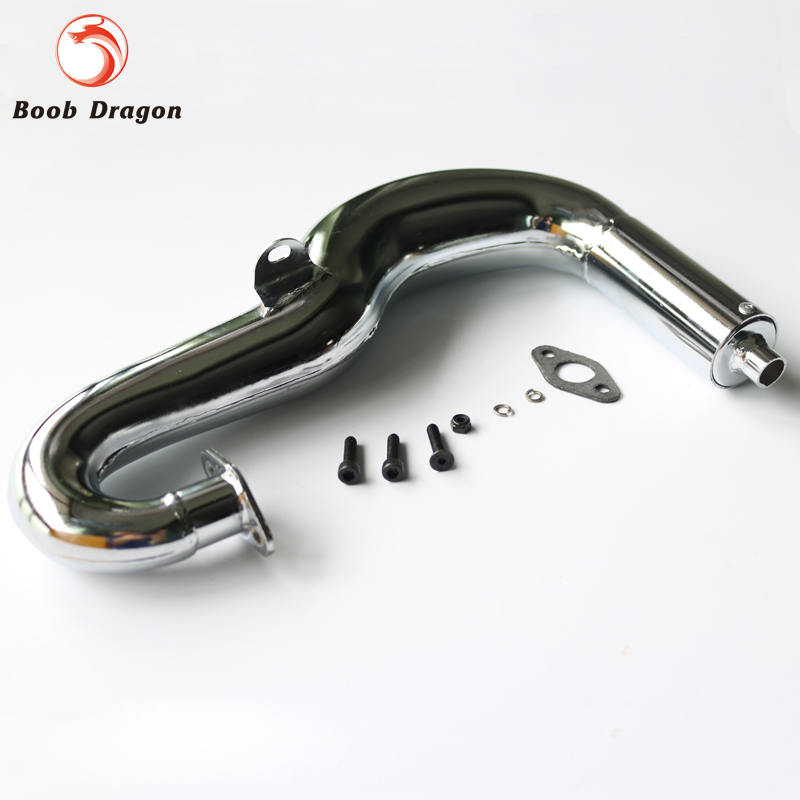 RC chrome Monster Exhaust pipe fits FG,SMT Monster Truck aluminum water cool flange fits 26 29cc qj zenoah rcmk cy gas engine for rc boat