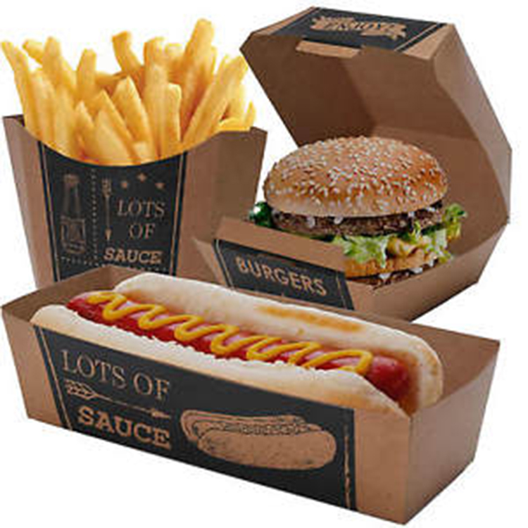 Burger French Fries Paper Packaging Hotdog Kraft Box