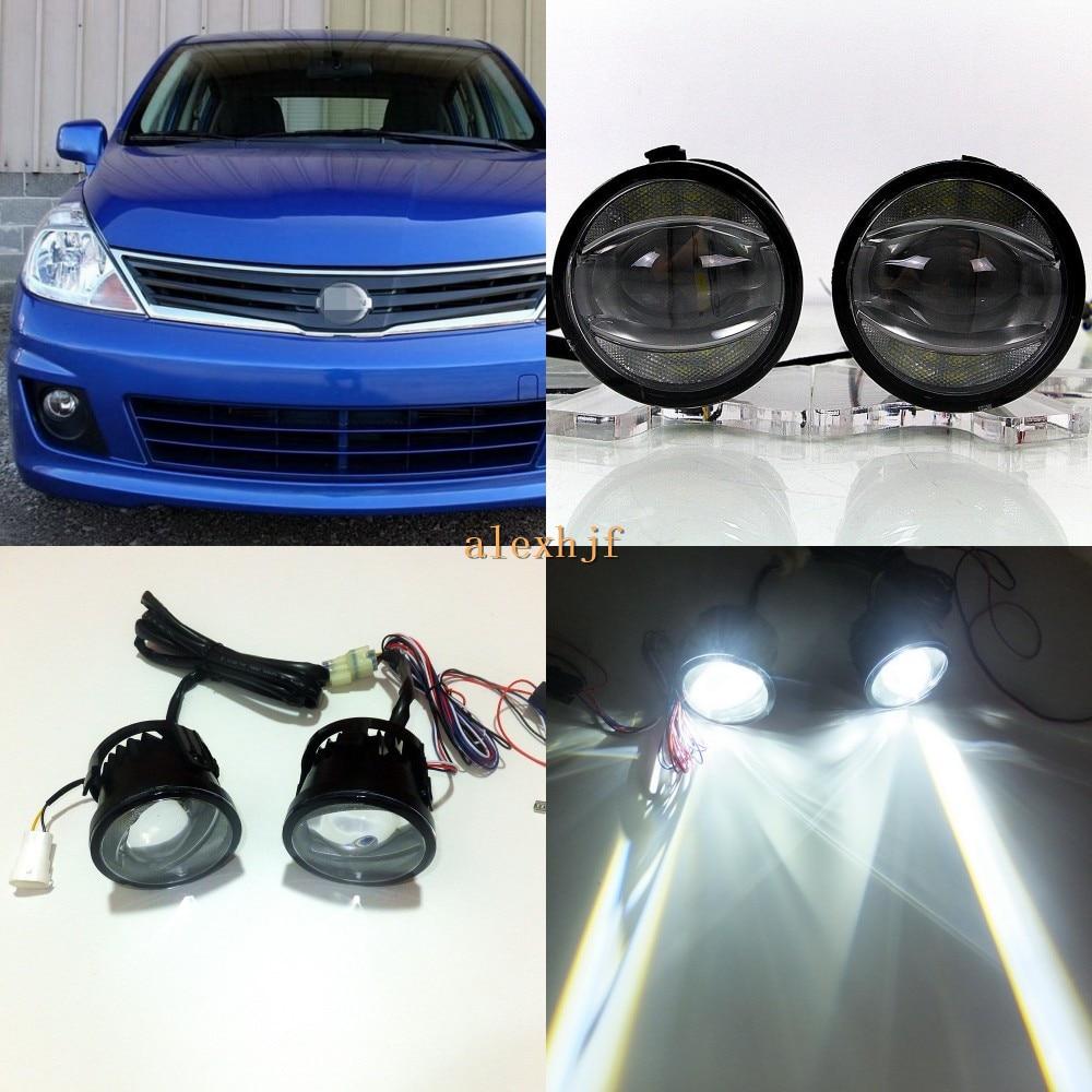 July King 1600LM 24W 6000K LED Light Guide Q5 Lens Fog Lamp +1000LM 14W Day Running Lights DRL Case For Nissan Versa Sedan 07-11