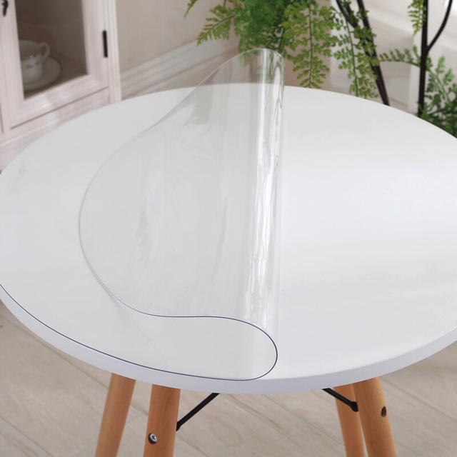 home kitchen transparent soft glass waterproof floral oil proof anti scald Dining round PVC placemat table cloth cover mat