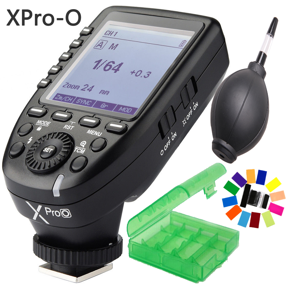 Godox XPro-O 2.4G TTL 32 Channels Wireless High Speed Sync 1/8000s Flash Transmitter X system Trigger for Olympus Panasonic DSLR godox x1t o ttl strobe trigger 1 8000s hss 32 channels 2 4g wireless lcd flash trigger transmitter for olympus panasonic