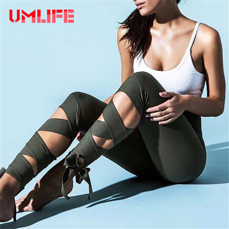UMLIFE Women Cross Bandage Yoga Pants Ballerina Dance Sport Leggings Fitness Workout High Waist Running Tights Elastic Ballet