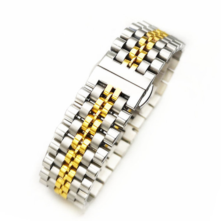watch belt steel seven beads stainless strap solid with butterfly buckle flat head