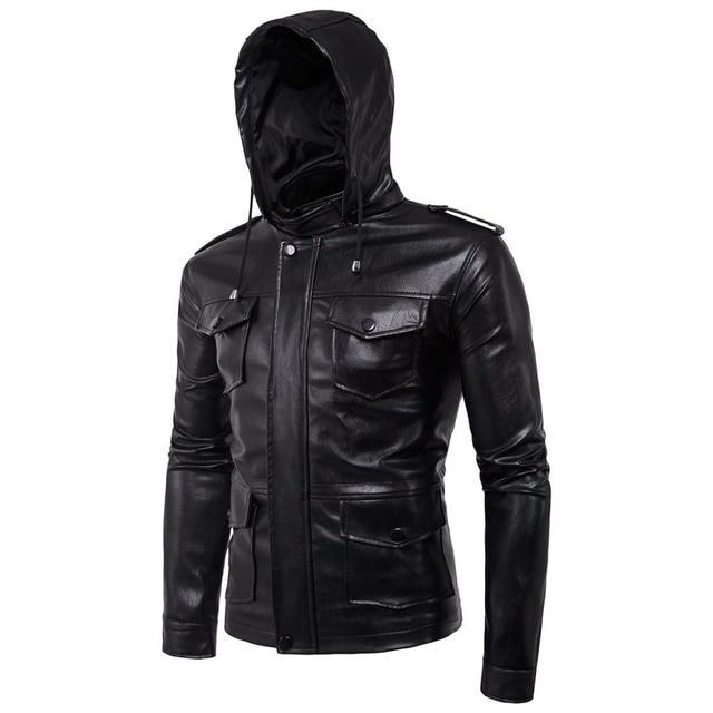Mens faux leather Motorcycle Streetwear hoodies Hiphop skateboard Punk  sweatshirt Europe Style Slim Black Leather Coats 072807 24104af59f67