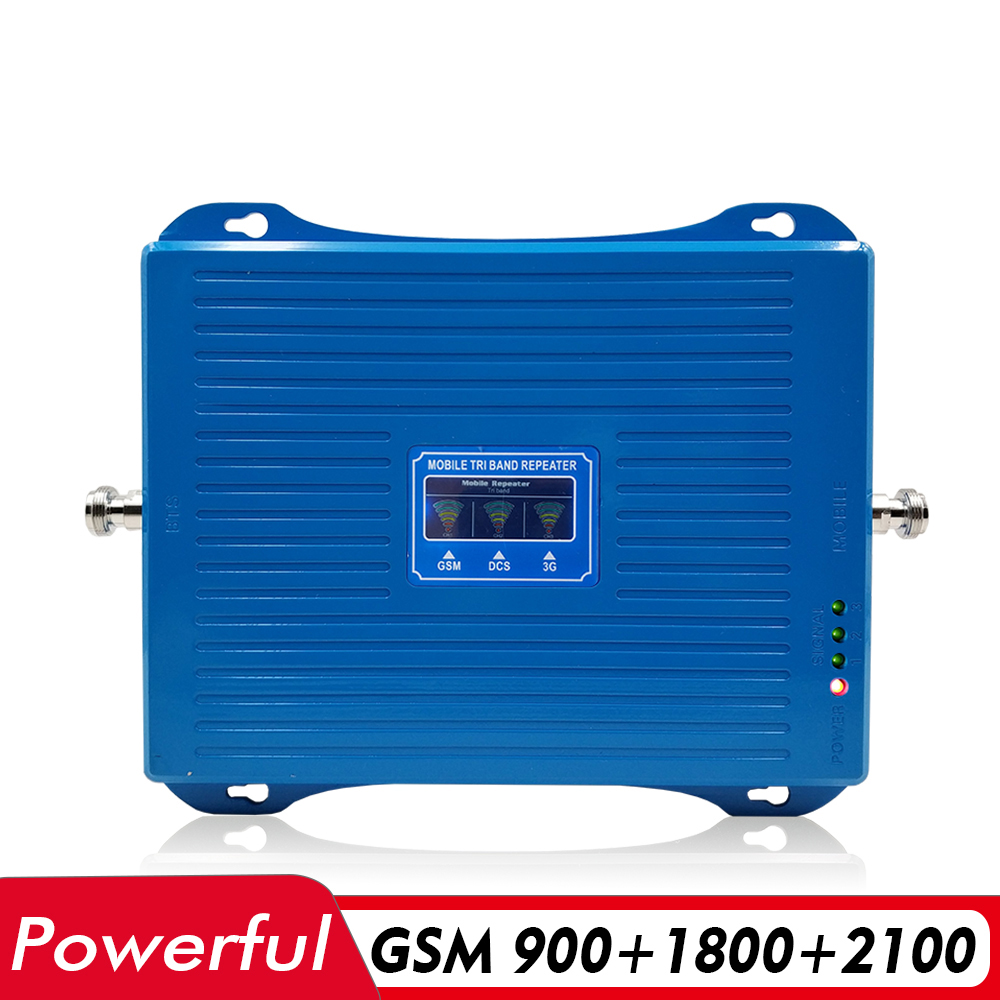 70dB Gain 30dBm Tri Band Cellular Mobile Signal Booster GSM 900 DCS LTE 1800 UMTS WCDMA