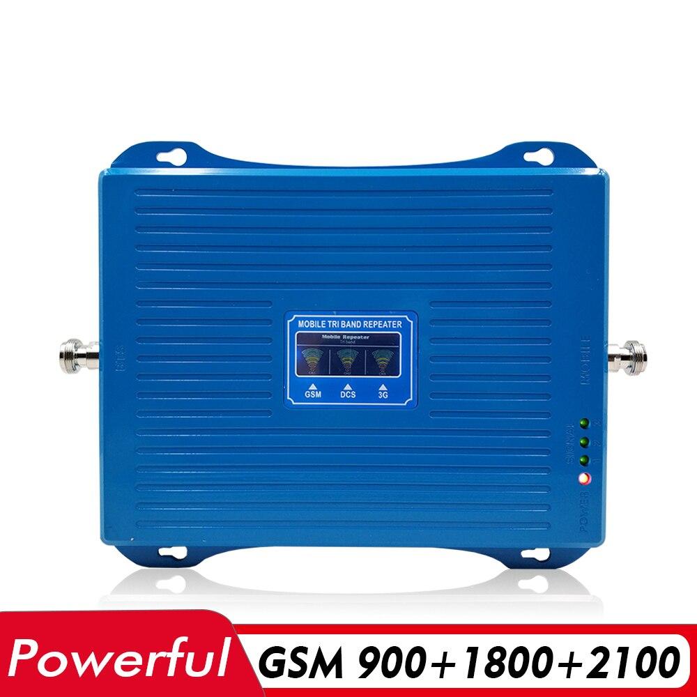 70dB Gain 30dBm Tri bande cellulaire amplificateur de Signal Mobile GSM 900 + DCS/LTE 1800 + UMTS WCDMA 2100 2G 3G 4G répéteur de Signal de téléphone portable