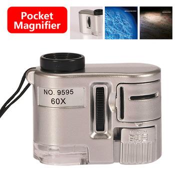 60X mini obiektyw lupa kieszonkowa mikroskop z oświetleniem LED biżuteria jubiler lupa Dectector waluty tanie i dobre opinie Inpelanyu Handheld C1076-01 Led light Z tworzywa sztucznego Jewelry Magnifying Glass 60 X Microscope Sliver 40x35mm
