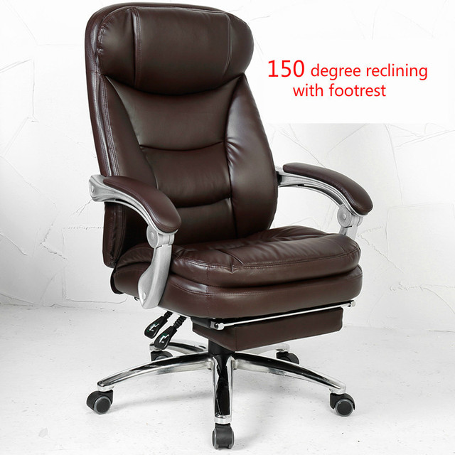 High-grade Computer Chair Home Office Chair Simple Reclining Boss Chair PU Swivel Rotating Lift Executive Silla Seat Footrest