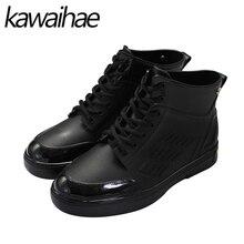 2017 Autumn Winter Waterproof Rainboots PVC Men Rubber Shoes Male Rain Boots Brand Kawaihae 107