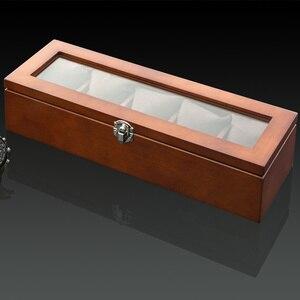Image 2 - أعلى 5 فتحات ساعة عرض خشبية حالة خشب أسود صندوق لتخزين ساعات اليد مع قفل ساعة خشبية أنيقة هدية مجوهرات حالات C023