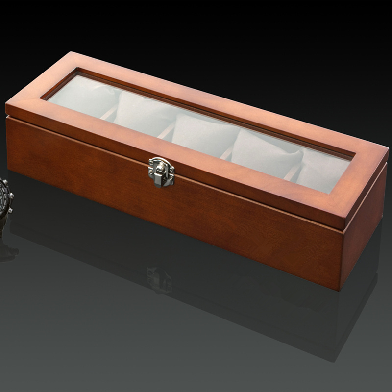 Image 2 - Top 5 Slots Wooden Watch Display Case Black Wood Watch Storage Box With Lock Fashion Wooden Watch Gift Jewelry Cases C023-in Watch Boxes from Watches