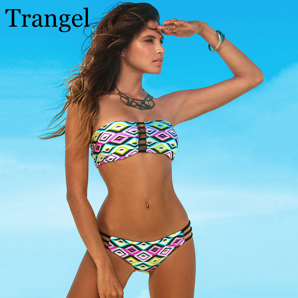 Trangel bikini swimwear women 2018 bikini Sexy bandeau Swimsuit Print Bandage bikini brazilian Bathing Suit set bikini trangel bikini 2017 new halter swimwear padded bikini set sexy women swimsuit cut out brazilian thong bathing suit bf018