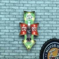 Vintage LED Neon Sign Lightbox Shabby chic Cerveja Cafe Bar Signage Brass knuckles weapon Metal home decor Placas decorativas