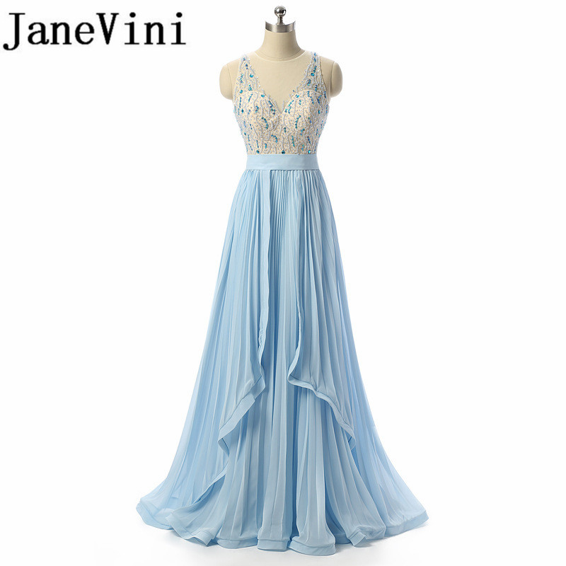 JaneVini Sequins Crystal Chiffon Long Bridesmaids Dresses V-Neck Sleeveless Floor Length Women Formal Dress For Prom Party Wear
