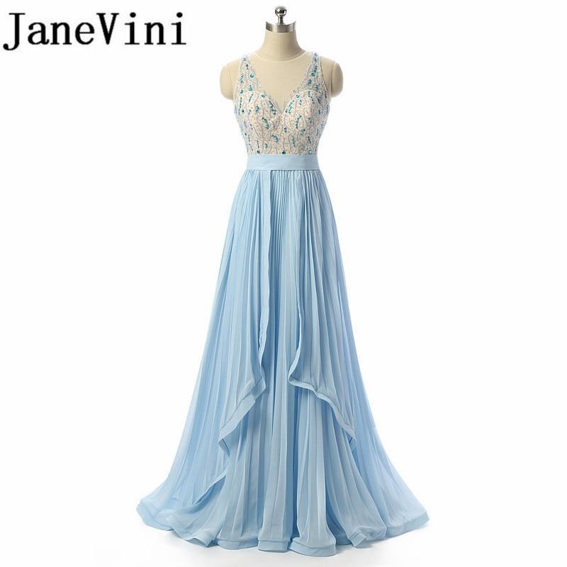 JaneVini Sequins Crystal Chiffon Long Bridesmaids Dresses V-Neck Sleeveless Floor Length Women Formal Dress For Prom Party Wear