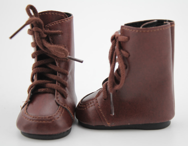 "Doll Shoes Vintage Brown Leather Doll Boots For 18/""Inch Girl doll Accessories"