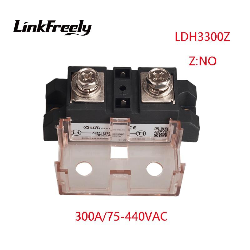 LDH3300Z 2pcs 300A High Power 1 Phase AC Solid State Relay Output 75-480VAC Input 5V 12V 24V 32V DC SSR Voltage Relay Board high quality dc to ac solid state relay ssr 60da 60a 4 32v 75 480v aluminium heat sink