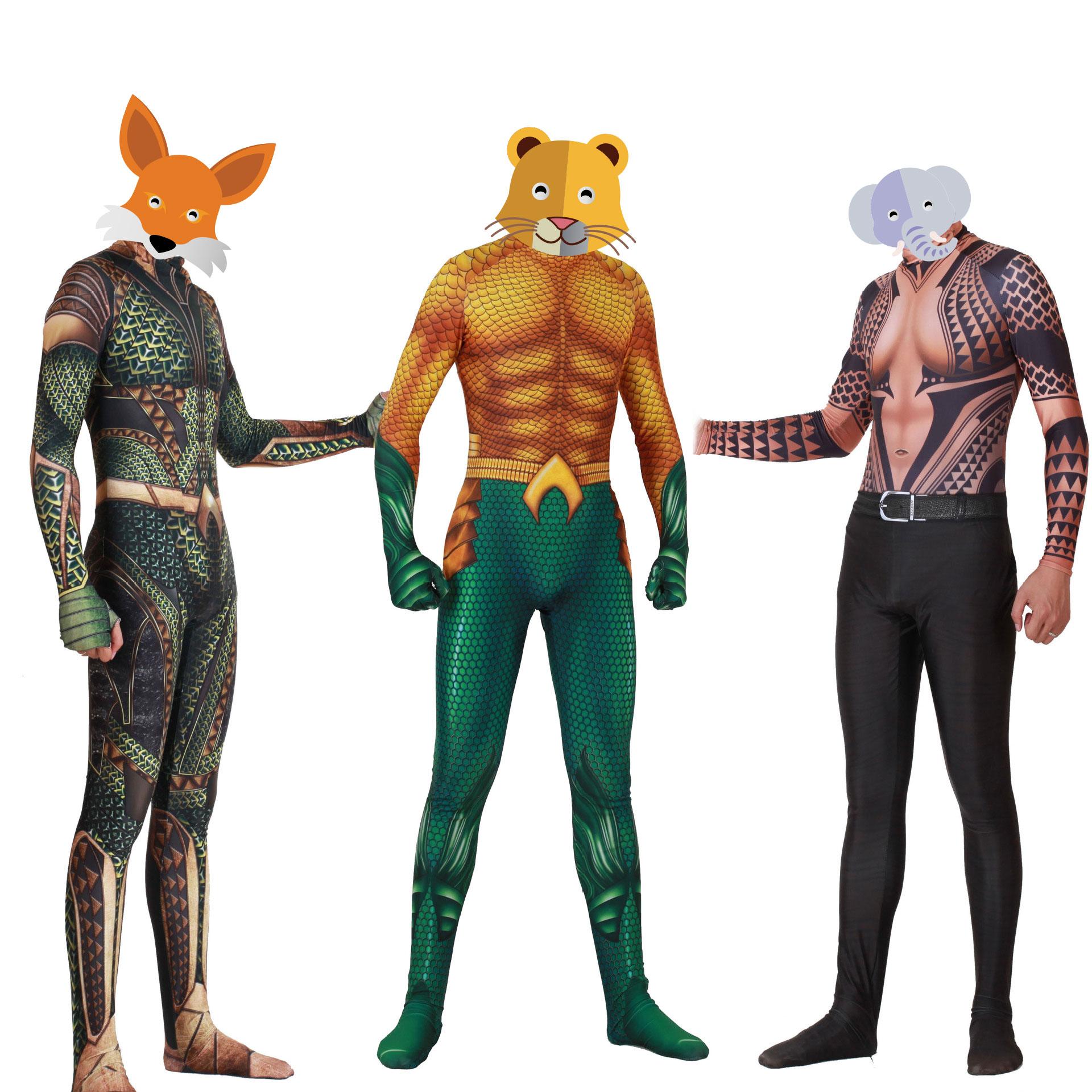 Aquaman Cosplay 3D Printing Superhero Aquaman Bodysuit Cosplay Costume Arthur Curry Orin Zentai Jumpsuits Halloween Men