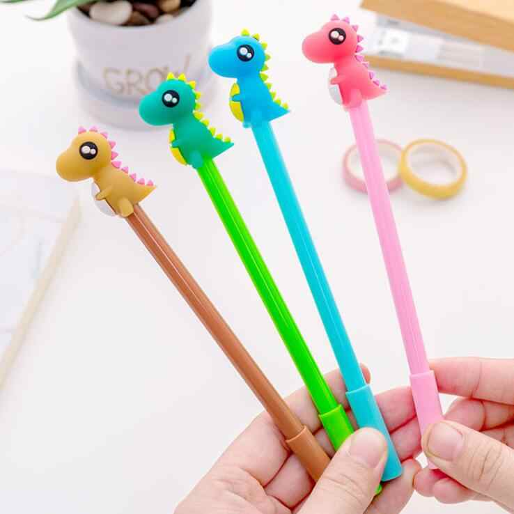 4 Piece Lytwtw's Korean Stationery Cute Kawaii Candy Dinosaur Boy Gel Pen School Office Supplies Handles Novel Creative Styling