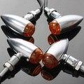4 peças bala motocicleta Chrome Turn Signal Indicator Light lâmpada para Harley / Chopper