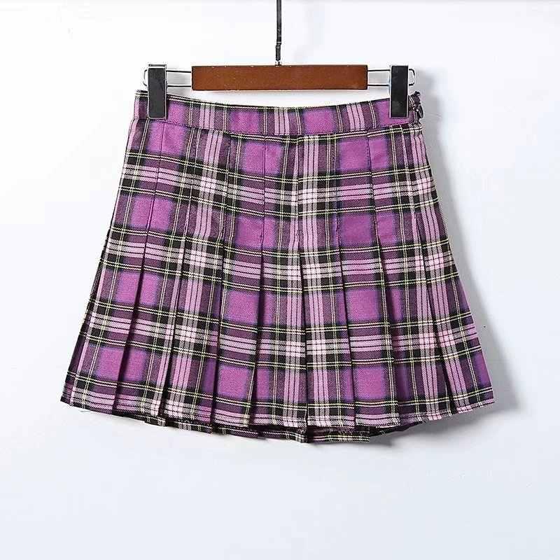 b061555f3 ... GOPLUS Women Fashion Summer High Waist Pleated Skirt Korean Harajuku  Plaid Skirts Kawaii Female Preppy Chic ...