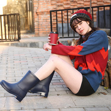 New fashion lady rainboot water shoes thick solid low heel women waterproof shoes and wear-resistant PVC ladies rain boots cheap Adult Spring Autumn wenjie brother Microfiber Fits true to size take your normal size Med (3cm-5cm) Rainboots Mid-Calf