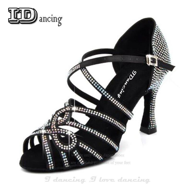 Idole femmes chaussures de danse latine femmes chaussures de salle de bal noir Salsa chaussures de danse strass complet Tango chaussures de robinet de valse offre spéciale
