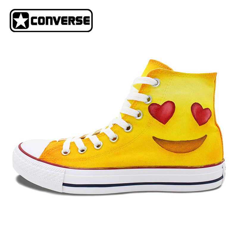 Design Converse Chuck Taylor Shoes Men Women Skateboarding Shoes Hand Painted Emoji High Top Canvas Sneakers converse chuck sneakers original design mask eagle totem hawk canvas shoes men women s high top athletic skate shoes