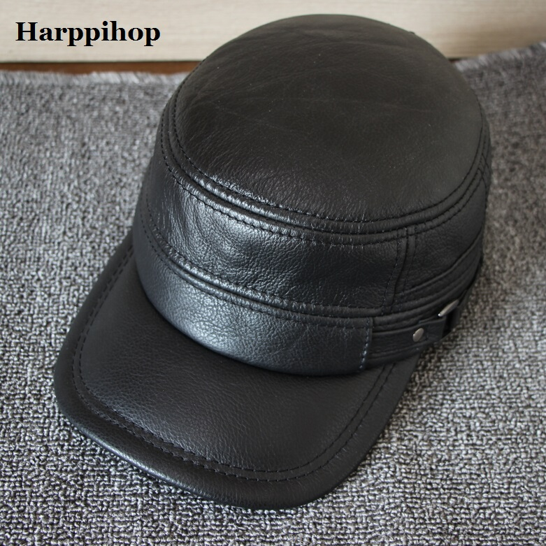 Harppihop 2017 New Men Earmuffs Real Leather Fur Baseball Caps Thickening Warm Winter Male Flat hats Cowhide Gorras Free ship brand winter hat knitted hats men women scarf caps mask gorras bonnet warm winter beanies for men skullies beanies hat