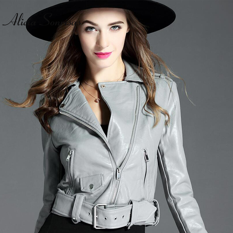 Black PU   Leather   Jacket Women Short Biker Washed PU Motorcycle Streetwear New Grey Spring Long Sleeve Pink Faux   Leather   Jacket