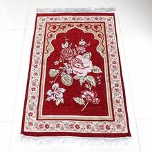 Venta al por mayor 75*110cm Floral islámico alfombrilla para oración musulmana Salat Musallah oración alfombra tapiz Tapete de alfombra Banheiro islámica alfombra de oración
