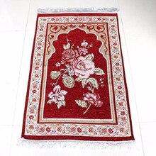Wholesale 75*110cm Floral Islamic Muslim Prayer Mat Salat Musallah Prayer Rug Tapis Carpet Tapete Banheiro Islamic Praying Mat