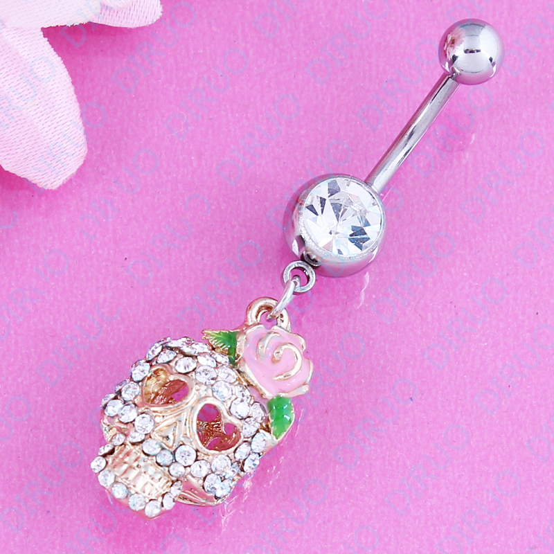 Belly Button anneau de cristal strass fleur bijoux nombril Bar Body Piercing Vente