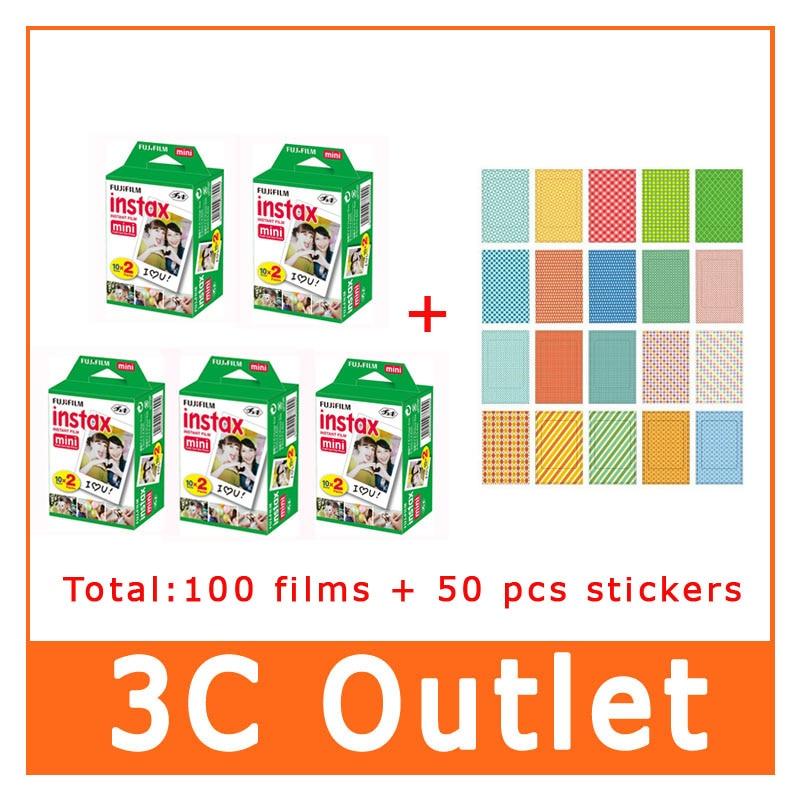 100 Sheets Fujifilm Instax Mini Film + 50 Pcs Free Gift Stickers For Fujifilm Instant Camera Mini8 7s 25 50s 90 70 SP-1 fujifilm instax mini 8 film 20 sheets bag photo bookmarks wrist strap protect case close up lens pen stickers