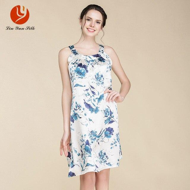 LIN YUN Nightgown for Women Real Silk Sleepshirt Lady Sleeveless Homewear Floral Women Sleepwear Print Female Silk Nightgown