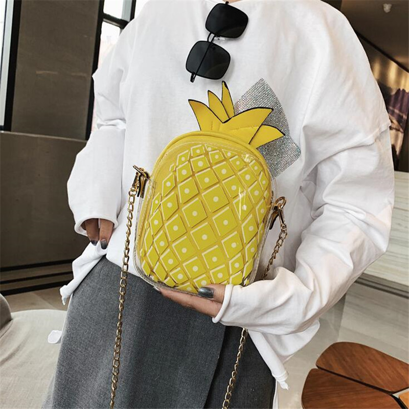 Bags For Women 2019 New Personality Creative Pineapple Bag Chain Shoulder Messenger Bag Jelly Pack Mobile Phone Bags in Shoulder Bags from Luggage Bags