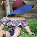 Enbaba детская одежда девочек летом 2016 модный бренд новорожденный девушки одежда Воротник цветок печати футболка + шорты 2 шт. костюмы