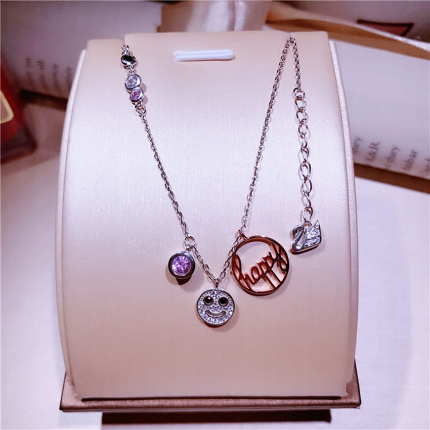 New s925 sterling silver smiley necklace micro micro-studded zircon clavicle wild female accessories XL017