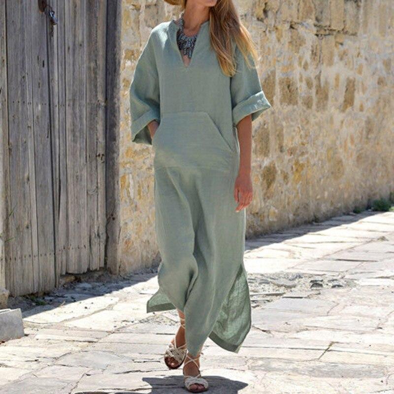 Women Vintage Maxi Long Dress 19 Celmia Summer Autumn Sexy V Neck Long Sleeve Split Casual Loose Linen Vestidos Kaftan S-5XL 12