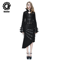 Fashion Gothic Two Pieces Set Stand Collar Jacket for Women Palace Back Bandage Lace Up Winter Long Sleeve Coat Outerwear
