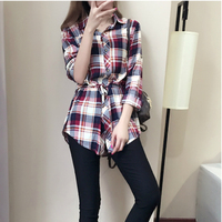 Women New Plaid Blouse Turn Down Long Sleeve Elastic Waist Medium Long Slim Casual Ladies Check