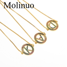 Molinuo simple Exquisite Gold Color Micro Pave Rainbow CZ Cubic Zirconia A-Z Initials Letter bracelet For Women Fine Jewelry