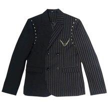Тонкий полосатый двубортный костюм с заклепками мужская Корейская версия куртка тренд trend! Singerwear
