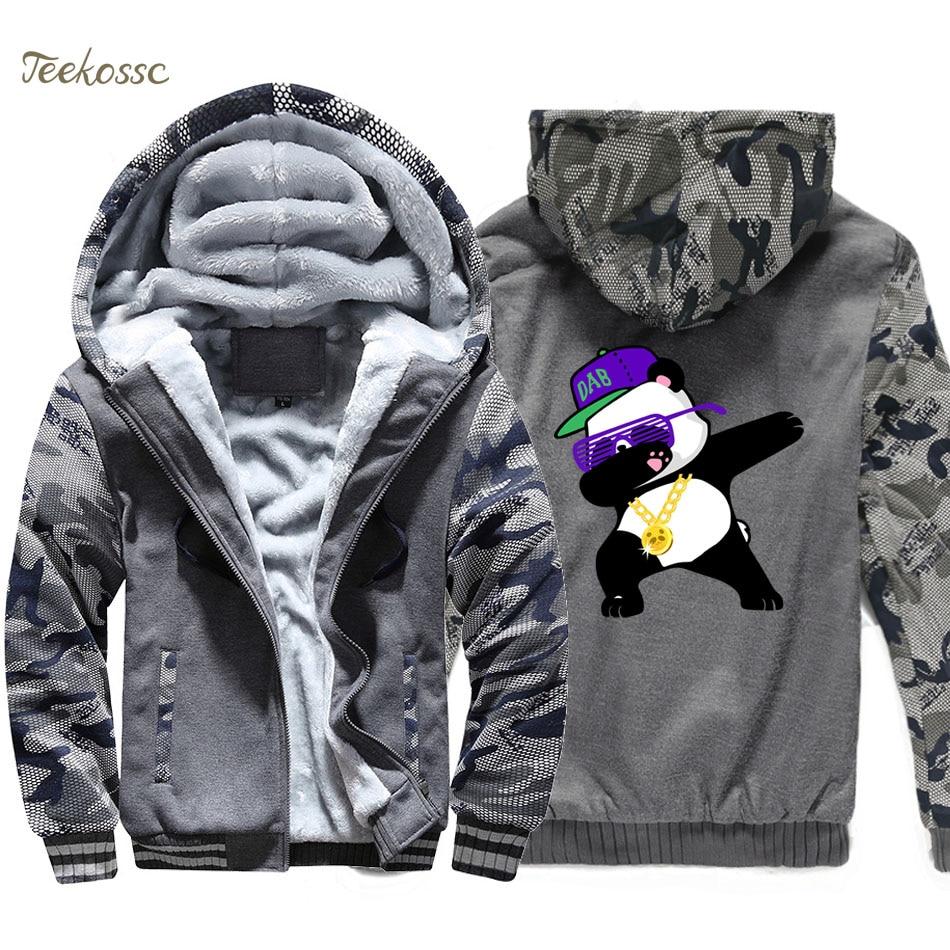 Dabbing Panda Hoodie Men Hip Hop Dance Hooded Sweatshirt Coat 2018 Fashion Winter Warm Fleece Thick Jacket New Brand Streetwear