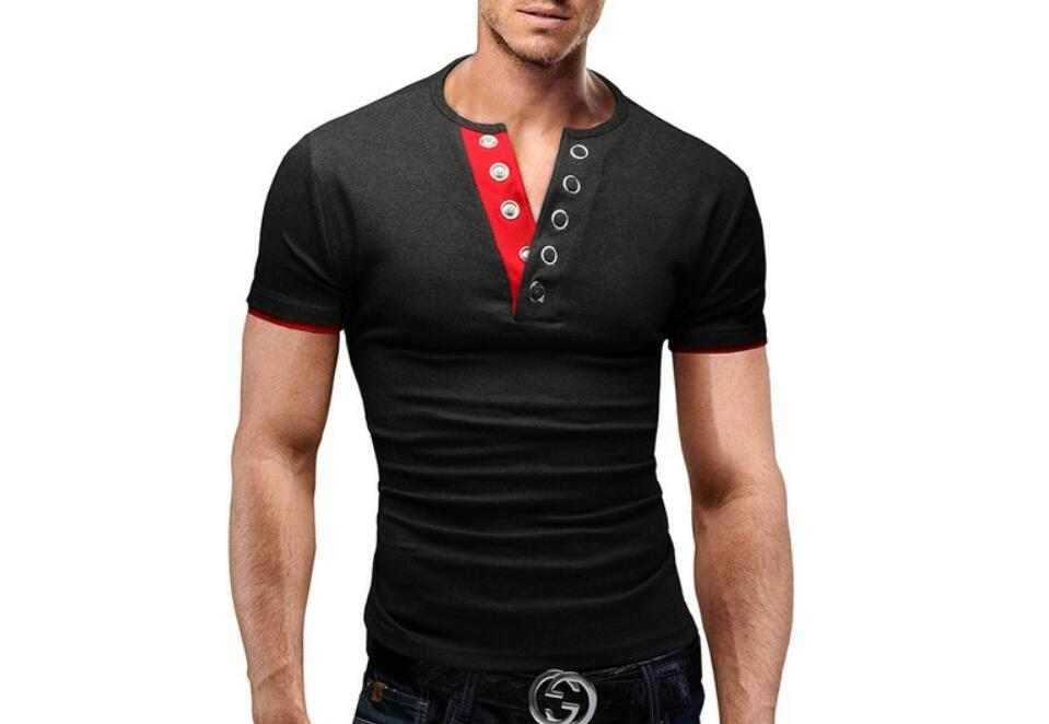 Men'S T Shirt 17 Summer Fashion V-Neck Short-Sleeved Tees Male Camisa Masculina T-Shirt Slim Male Tops XXL 6 colors 4