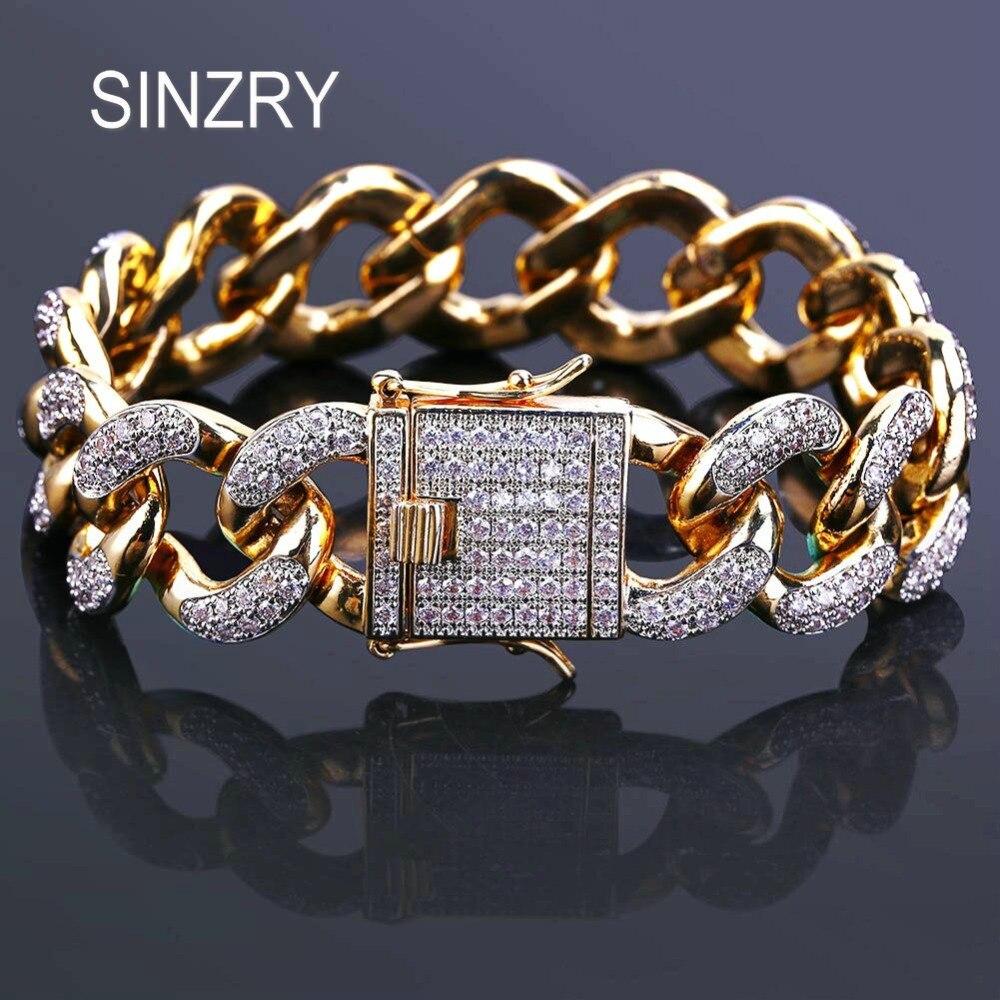 SINZRY 18mm De Luxe hommes bijoux Zircon Chaîne Cubaine Bracelet Hommes de Hip hop Bijoux Or Couleur CZ Fermoir charme Bracelet