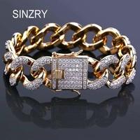 SINZRY 18mm Luxury men jewelry Zircon Cuban Chain Bracelet Men's Hip hop Jewelry Gold Color CZ Clasp charm Bracelet