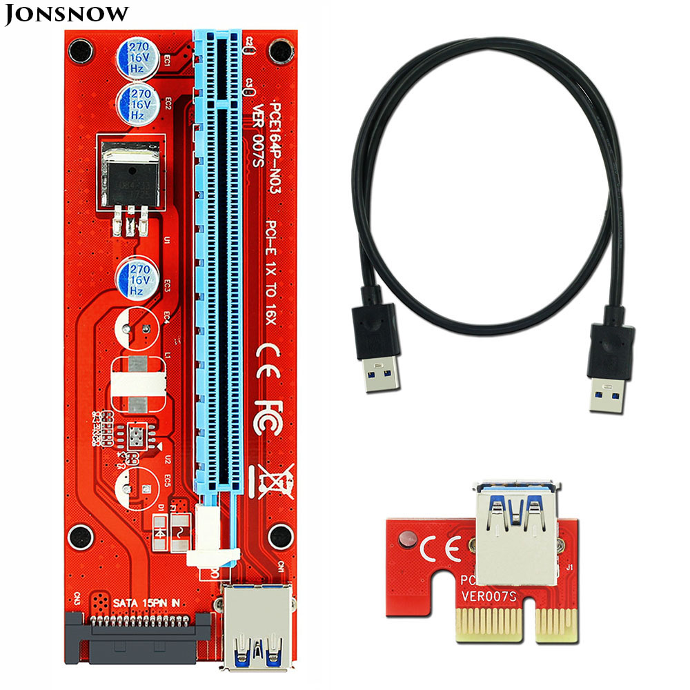 JONSNOW VER 007S Red PCI-E 1X to 16X Riser Card Extender PCI Express Adapter USB 3.0 Cable /15Pin Professional SATA Power Supply new usb3 0 008s pci e riser express 1x 4x 8x 16x extender riser adapter card sata 15pin to 6pin power cable dual power interface