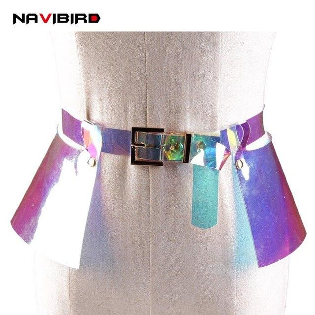 2e6842bba92 Nouveau Transparent ceintures femmes en plastique à volants jupe Corset  ceinture pour femme large ceinture en